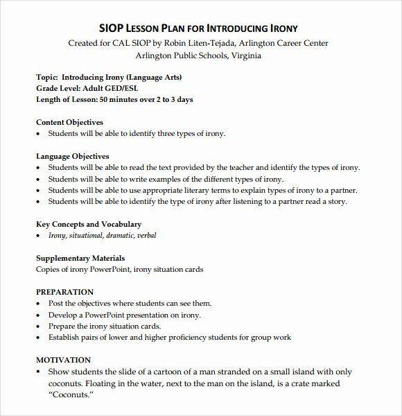 Language Arts Lesson Plan Template Siop Model Lesson Plan Template Unique Sample Siop Lesson