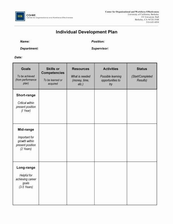 Leadership Development Plan Template Professional Development Plan Sample Inspirational Employee
