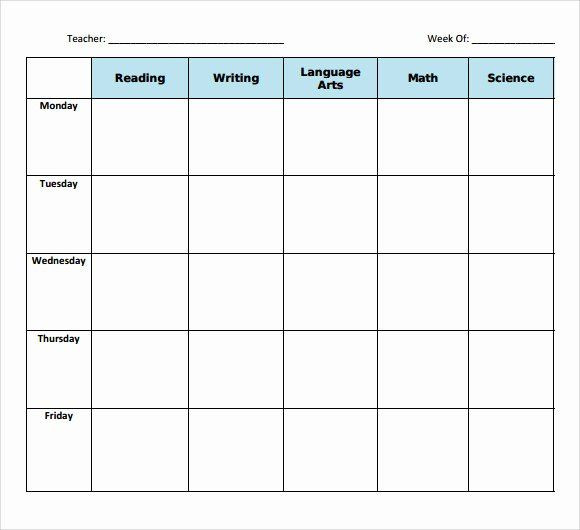 Lesson Plan Book Template Printable Free Daily Lesson Plan Template New Printable Lesson Plan