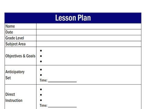 Lesson Plan Template for Adults Lesson Plan Template Free