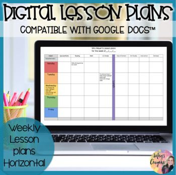 Lesson Plan Template Google Doc Google Doc Horizontal Weekly Plan Template In 2020