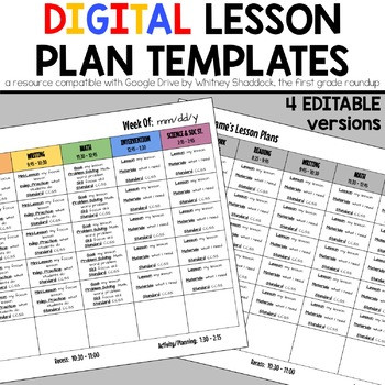 Lesson Plan Template Google Doc Lesson Plan Template Editable On Google Drive