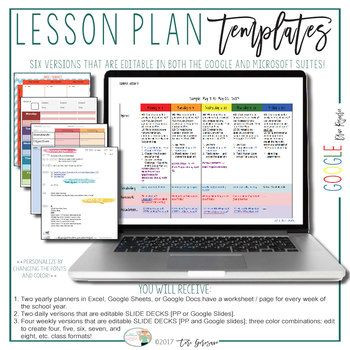 Lesson Plan Template Google Doc This Bundle Offers Six Different Lesson Plan Templates that