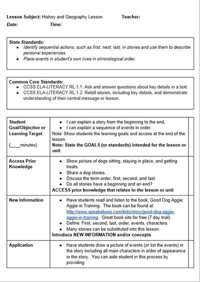 Lesson Plan Template with Standards Mon Core History Lessons Free Lesson Plan Template