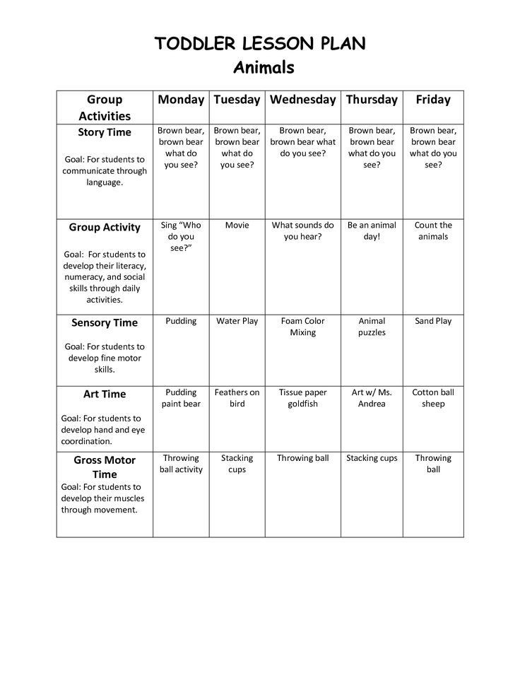 Lesson Plans for toddlers Template Infant Blank Lesson Plan Sheets