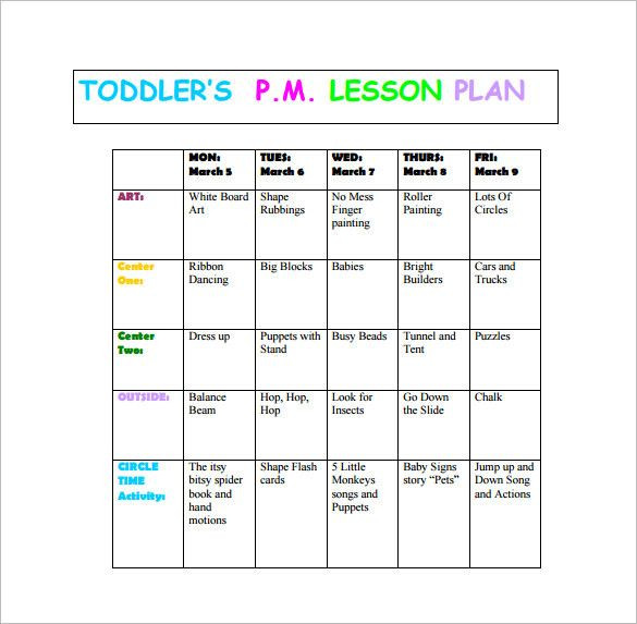 Lesson Plans for toddlers Template Lesson Plans for toddlers Template New toddler Lesson Plan