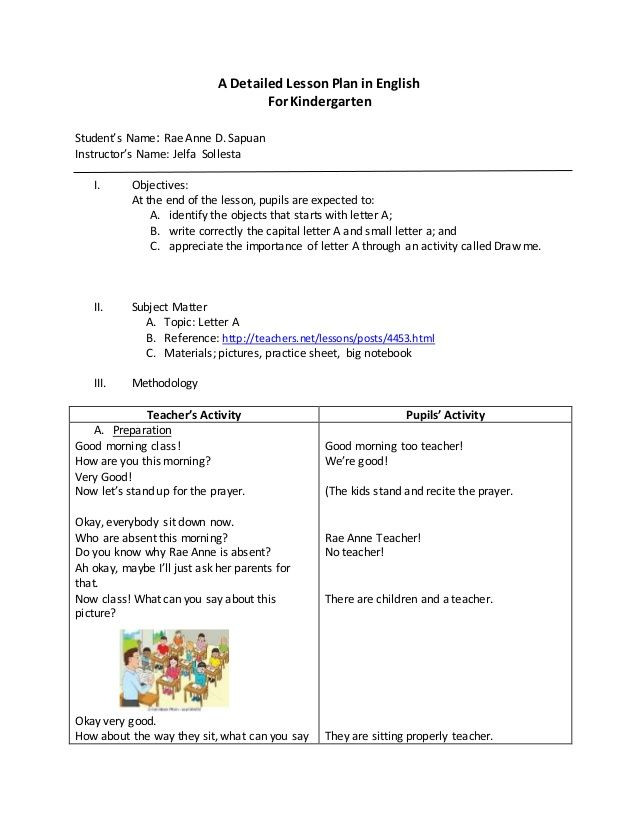 Lesson Plans Template for Kindergarten A Detailed Lesson Plan In English for Kindergarten Student S