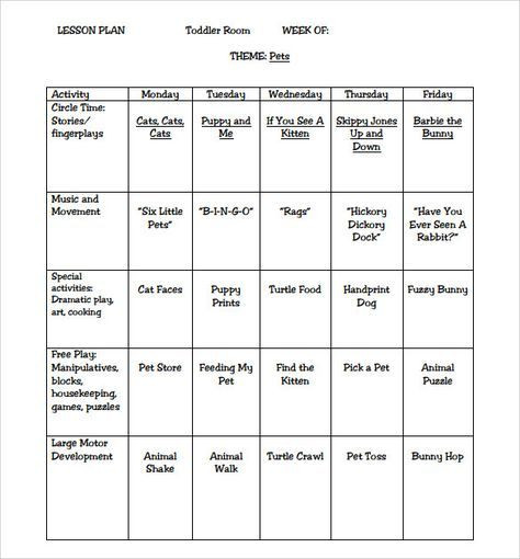 Lesson Plans Template for Kindergarten Sample toddler Lesson Plan 8 Example format