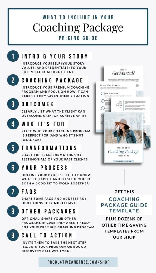 Life Coach Business Plan Template Coaching Package Template — Productive and Free