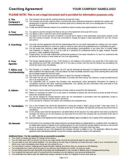 Life Coaching Marketing Plan Template Coaching Agreement Contract Template Sample