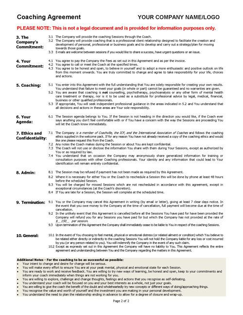 Life Coaching Session Plan Template Coaching Agreement Contract Template Sample