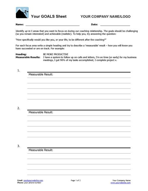 Life Coaching Session Plan Template Coaching Goals Worksheet