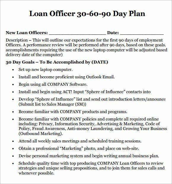 Loan Officer Marketing Plan Template Loan Ficer Marketing Plan Template Awesome 14 Sample 30 60