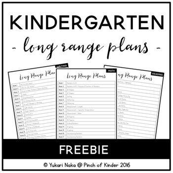Long Range Plans Template Free Kindergarten Long Range Plans