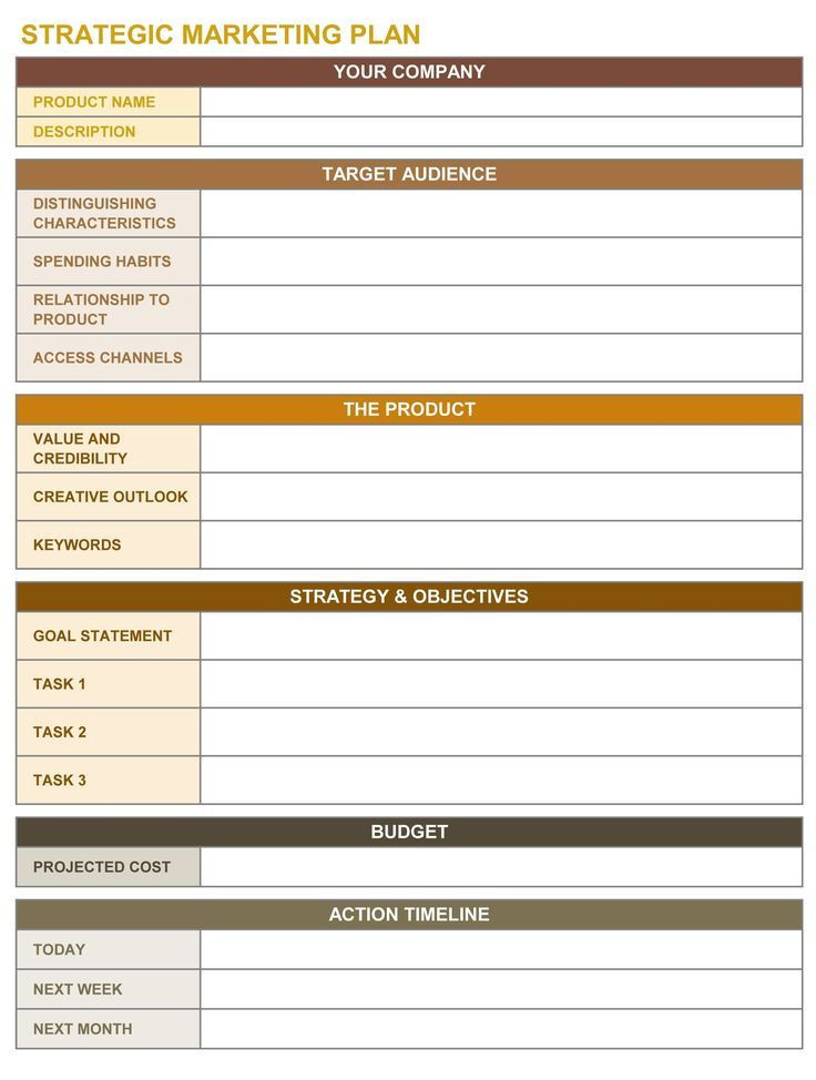 Marketing Action Plan Template Excel Marketing Munications Strategy Content Marketing In 2020