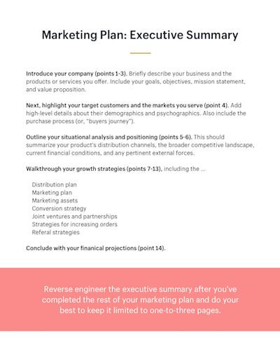 Marketing Plan Executive Summary Template How to Write A Marketing Plan Executive Summary