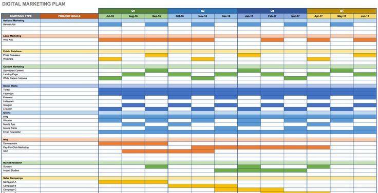 Marketing Plan Template Excel Digital Marketing Plan In Excel