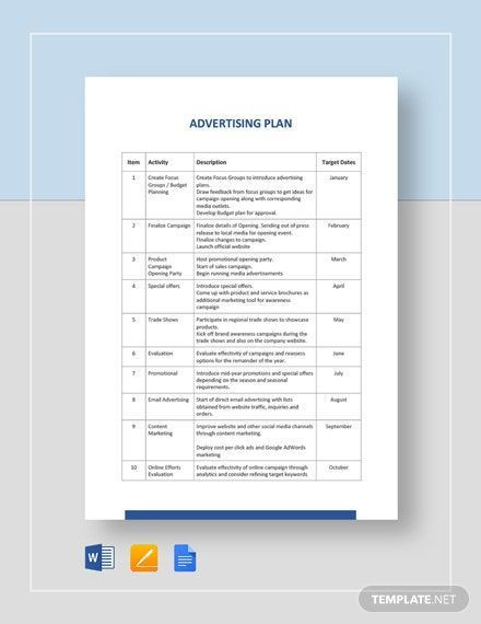 Marketing Plan Template Google Docs Advertising Consulting Business Plan Template Word Doc