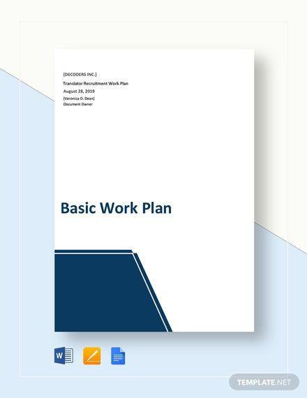Marketing Plan Template Google Docs Free Basic Work Plan Template In 2020