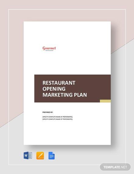 Marketing Plan Template Google Docs Instantly Download Restaurant Opening Marketing Plan