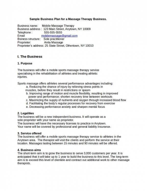Massage Business Plan Template Free Massage therapy Business Plan Template Elegant Free 10