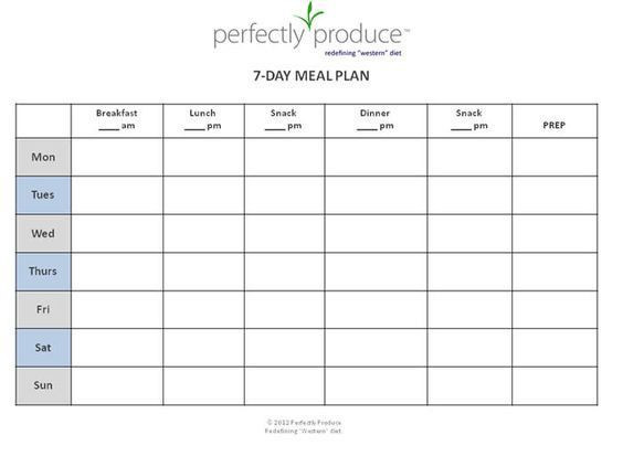 Meal Plan Template Excel Free Meal Planner Template the Best 7 Day Meal Planner