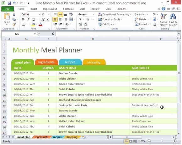 Meal Plan Template Excel Meal Plan Spreadsheet Template Beautiful Free Monthly Meal
