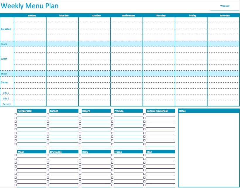 Meal Plan Template Excel Weekly Menu Planner 820—641 Pixels