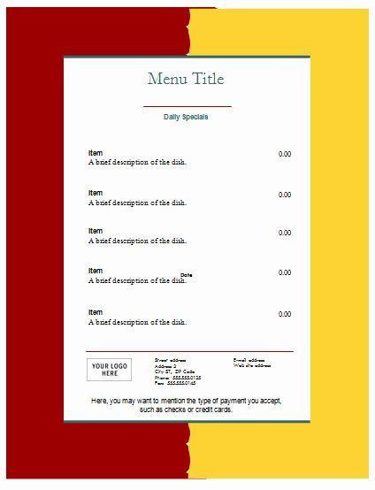 Meal Plan Template Google Docs Meal Plan Template Google Docs Elegant Food Menu Template An