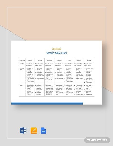 Meal Plan Template Google Docs Meal Plan Template In 2020