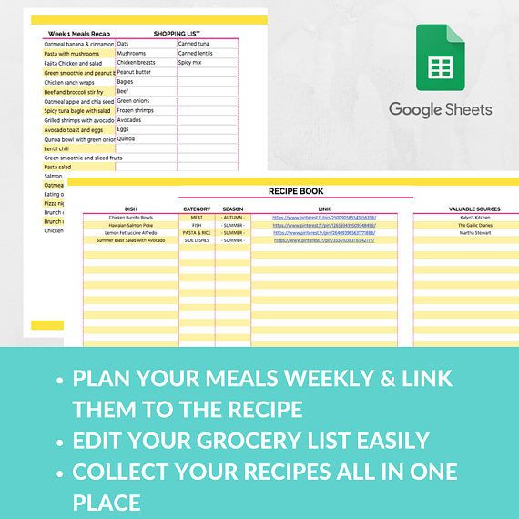 Meal Plan Template Google Docs Meal Planner Template Spreadsheet Grocery Planning Excel
