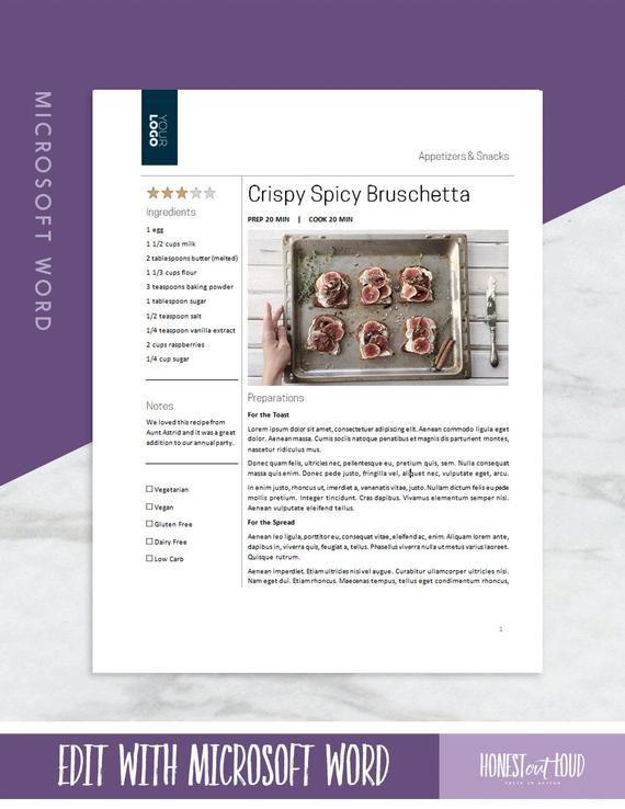 Meal Plan Template Google Docs Recipe Template Printable Microsoft Word or Google Docs