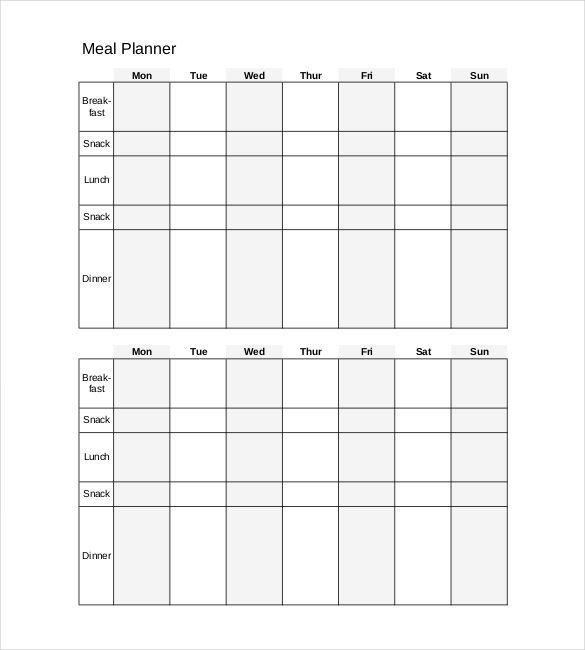 Meal Plan Template Word Pdf Doc Free & Premium Templates