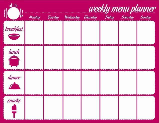 Meal Plan Template Word Weekly Meal Planner Template Word Fresh Weekly Menu Template