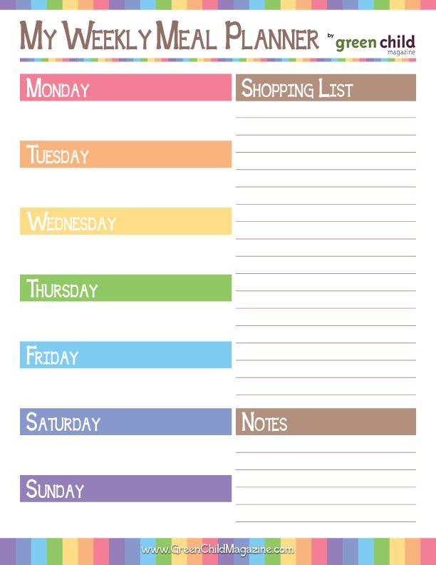 Meal Planner Template Free Printable Weekly Meal Planner