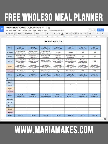 Meal Planner Template Google Docs Free Line whole30 Meal Planner — Maria Makes