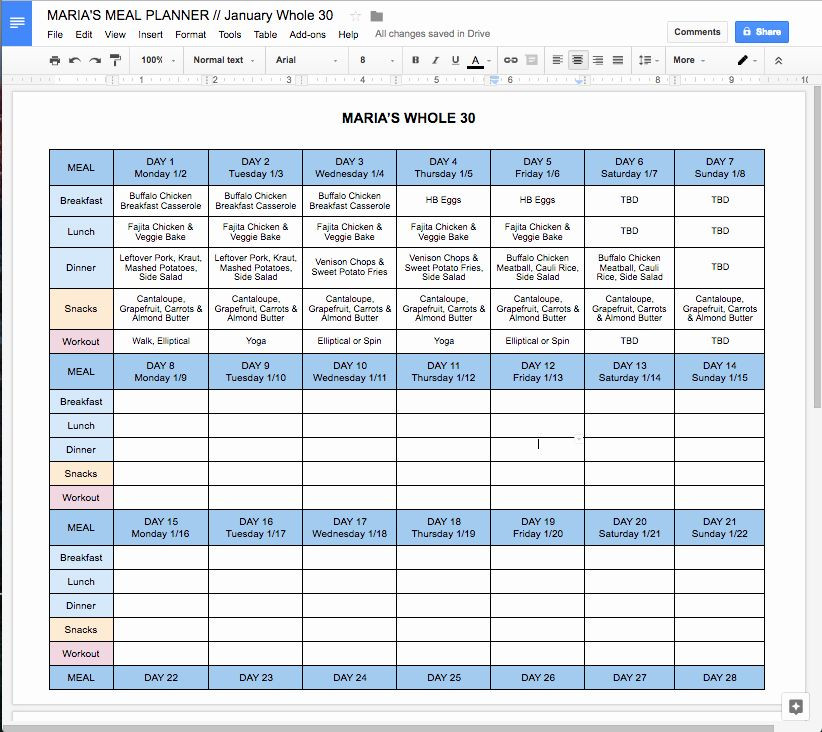 Meal Planner Template Google Docs Meal Plan Template Google Docs New Free Line whole30 Meal