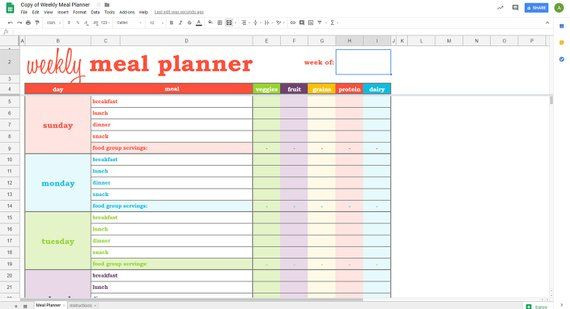Meal Planner Template Google Docs Weekly Meal Planner Google Sheets Template Printable