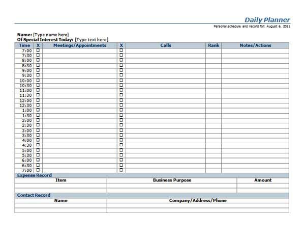 Microsoft Word Daily Planner Template Free Franklin Planner Template Microsoft Word Templates