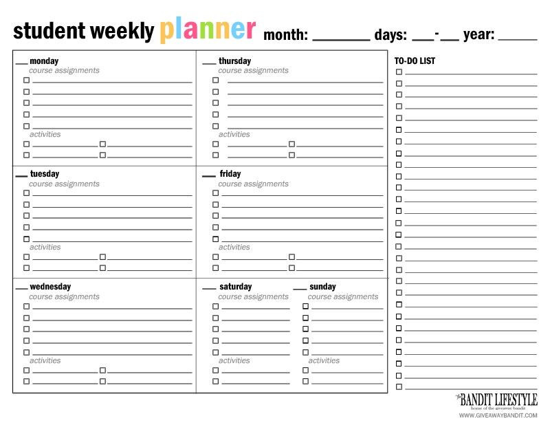 Middle School Student Planner Template Printable Student Planner Binder the Bandit Lifestyle