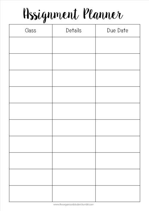 Middle School Student Planner Template Tumblr