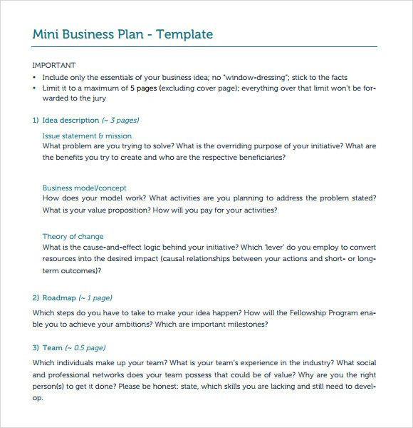 Mini Business Plan Template Mini Business Plan Template Unique 10 E Page Business Plan
