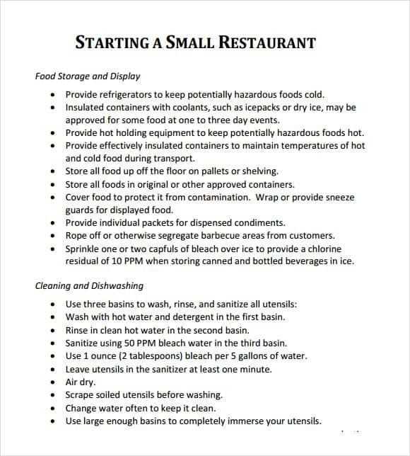 Mini Business Plan Template Restaurant Business Plan Template Word Elegant 32 Free