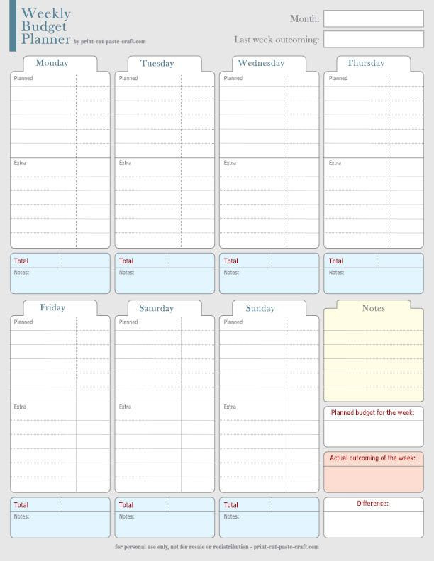 Monthly Budget Planner Template Family Weekly Bud Planner