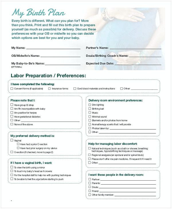 Natural Birth Plan Template 51 Free Download Birth Plan Templates for Your Labor Time