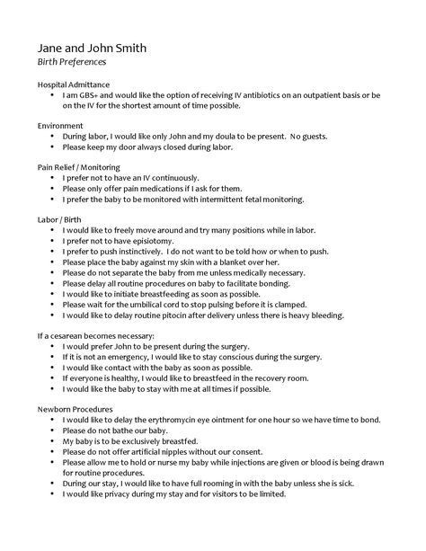 Natural Birth Plan Template Template Birth Plan