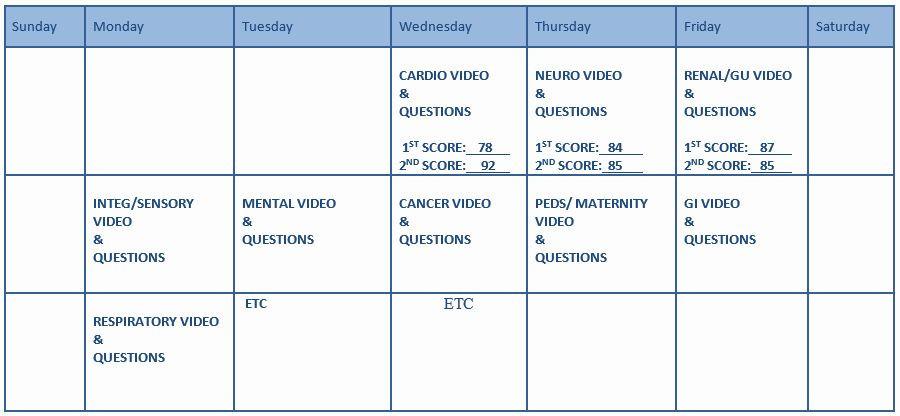 Nclex Study Plan Template Nclex Study Plan Template Awesome Study Calendar Summit