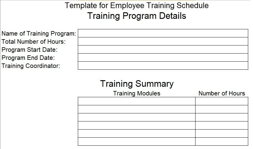 New Employee Training Plan Template Employee Training Schedule Template for Pany