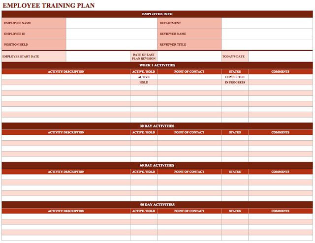 New Hire Training Plan Template New Employee Training Schedule Template
