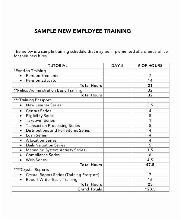 New Hire Training Plan Template Staff Training Plan Template Unique 6 Employee Training Plan